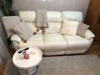 White leather 3 seater recliner sofa , perfect condition