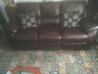 3 piece leather look fabric suite in very good condition for sale, buyer collects .