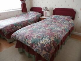 Bedding for 2 Single Beds plus Matching Curtains