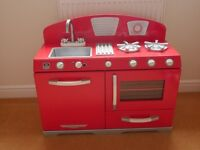 KidKraft Wooden Red Retro Play Kitchen and lots of accessories Good Condition