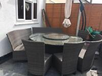Wicker Garden table and chairs with umbrella