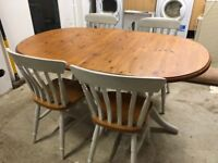 Shabby Chic Solid Wood Extendable Dining Table And 4 Chairs