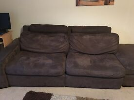 Chocolate brown sofa and Pouffe