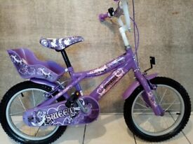 "Girls 16"" bicycle bike, helmet, stabilisers. Excellent condition!!"