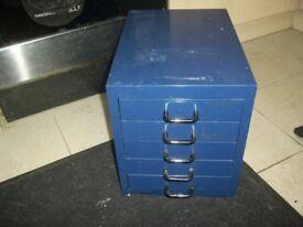 metal 5 draw desk top filling cabinet