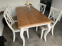 Oak finish top wooden table and 4 chairs