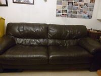 DFS BROWN LEATHER 3+2 SEATER SOFAS - 2 YEARS OLD - MUST GO ASAP - CHEAP DELIVERY - £325