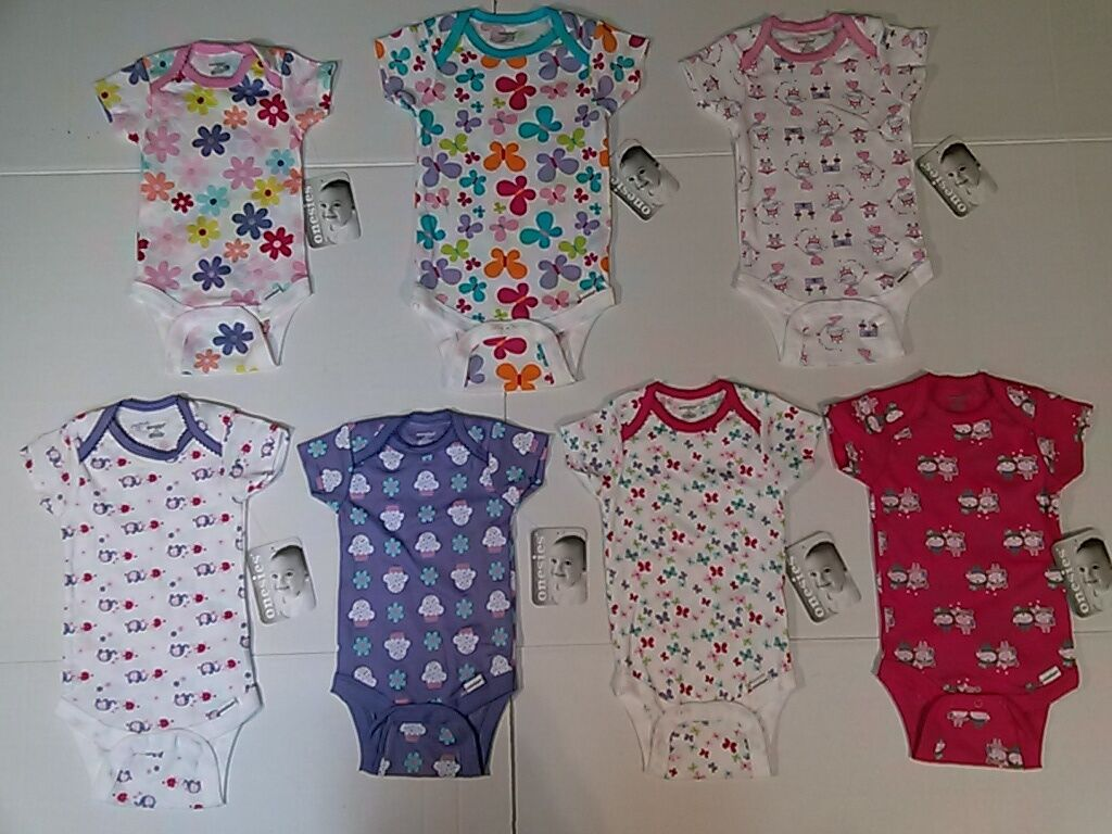 Gerber Baby Girls Onesies Bodysuit Assorted Print Colors NB