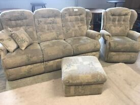 3 Seater Sofa, Recliner Chair and Footstool