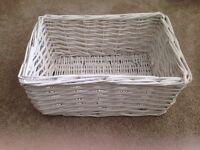 White wooden basket ideal for storage or hamper