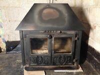 Large wood burner with back boiler