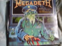 """80 ono: SIGNED Megadeth 12"""" Single +other metal vinyl LPs: Megadeth,Anthrax, Obituary,The Almighty"""
