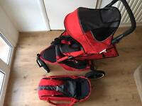 Phil and Teds double buggy plus carrycot and raincover