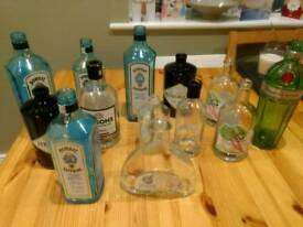 Wedding table decorations - assorted gin bottles