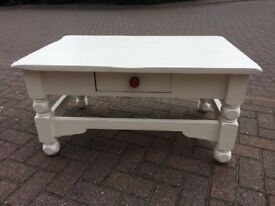 White coffee table with drawer. Solid wood, chalk painted and waxed.