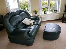 2x2 seater leather sofas settee and footstool