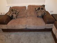 2 sofas - a 3 seater and 2 seater brown fabric sofa