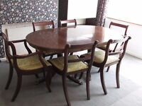 Wooden Table with 6 Charis
