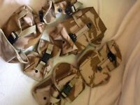Six Army combat desert pouches. Brand new, never been used.
