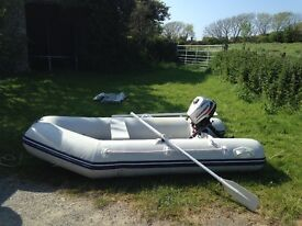 Boat dinghy tender with outboard engine