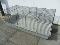 Very Large PET CAGE - Plastic Base with Metal / Wire Locking Cage Top - W117cms x D58cms x H48cms