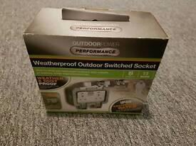 Weatherproof outdoor switched socket