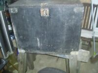 Large heavy duty wooden box was used as tool box