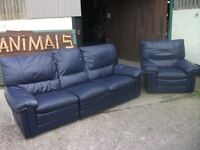 Leather 3 seater + chair recliners Blue Good condition wear and tear marks delivery available £40