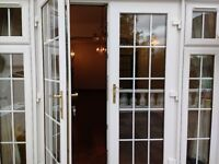 ***SOLD***UPVC French Patio Doors White / Wood Effect