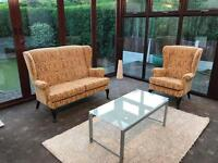 Beautiful Parker Knoll 2 Seater Sofa + Armchair Wingback Suite Excellent Condition