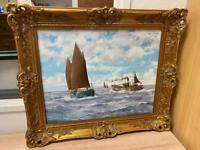 Vintage oil painting ship scene by JC Burnie