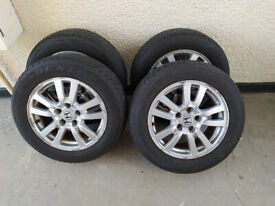 4x Honda 16 inch alloy wheels with tyres 205/60/16