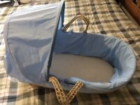 Baby Moses basket with blue covers - very good condition