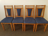 Set of pine wooden chairs x 4 (Delivery)