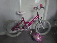 "Girls Bike age 5 up Lottie Pink and White 18"" wheel"
