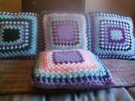 GORGEOUS NEW HAND CROCHET SCATTER CUSHIONS X 4