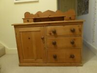 Antique pine chest with cupboard, drawers and shelf