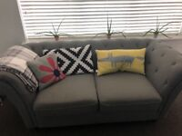 Grey 2 Seater Chesterfield Sofa