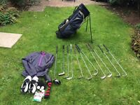 Golf clubs, bag, shoes,jacket, balls and tee