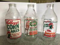 30 Collectible retro advertising milk bottles, some Welsh dairies