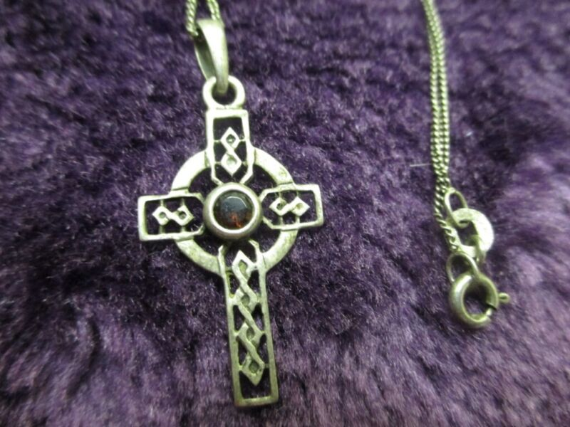 Silver Celtic Cross With A Semi Precious Purple Stone & Chain, used for sale  Birkenhead, Merseyside