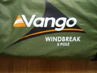 Vango 5 pole Windbreak. Colour Moss. Used 2 dry nights.