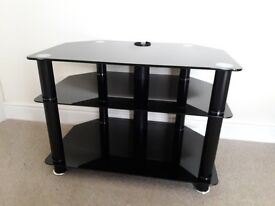 Black Glass corner TV stand / TV table