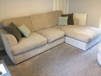 L shape sofa and round swivel chair