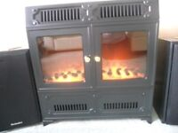 """1.0kW """"Focal Point"""" convector heater, with fan heater boost to give 2.0kW max output in matt black"""