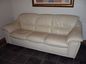 Leather suite, magnolia, 3-seater + armchair, immaculate condition