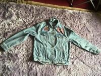 """Disnep ladies denim jacket Oversized Ripped and collar blue chest size 42"""" used £8"""