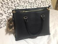 Trendy Black Purse with Fur Keychain
