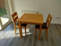 Oak Dining Table and 2 Chairs - Extender