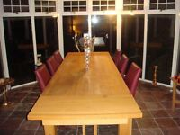 Reids Dining Table, Solid Oak. Chairs Not Included.